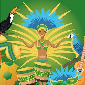 Garota cartoon and icon set. Brazil culture America