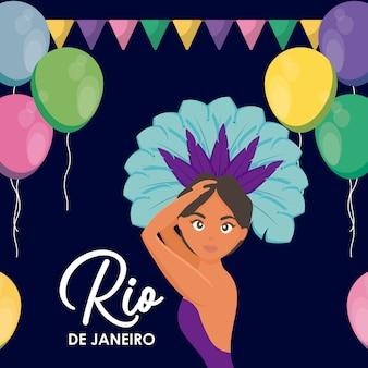 Гарота танцует карнавал в рио-жанейро