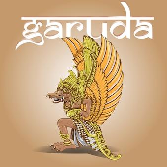 Garuda in balinese style design vector