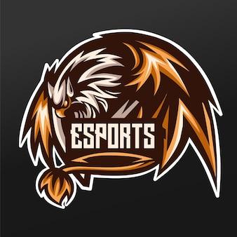ロゴeスポーツゲームチーム分隊のためのガルーダ鳥マスコットスポーツイラストデザイン