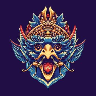 ガルーダインドネシア文化イラストデザイン
