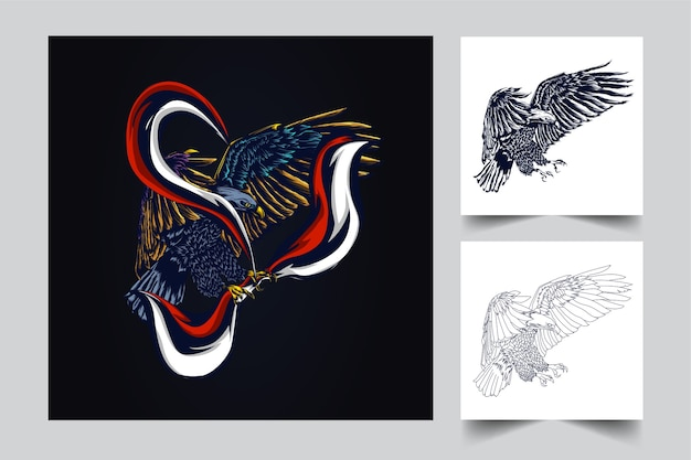 Garuda mascot    with modern illustration concept style