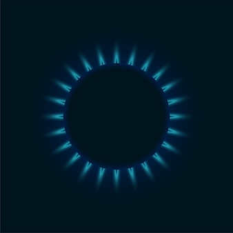 Gas burner blue flame. glowing fire ring on kitchen stove top view. burning natural propane butane vector realistic mockup on dark background. eps