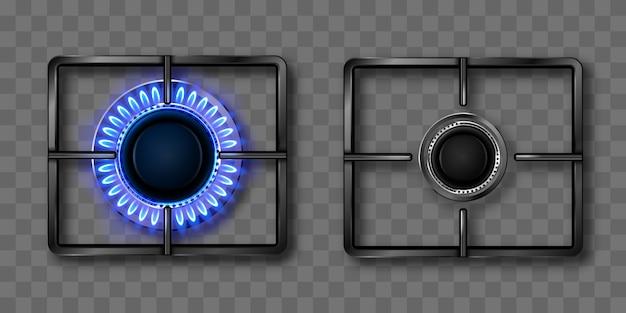 푸른 불꽃과 검은 강철 창살 가스 버너