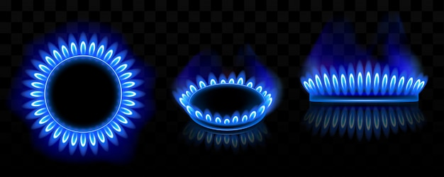Gas burner with blue flame, glowing fire ring