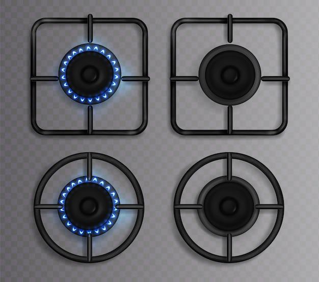 푸른 불꽃과 가스 버너. 조명 및 오프 호브가있는 주방 스토브. 투명 배경에 고립 된 평면도 요리를위한 오븐에 원형과 사각형 검은 강철 격자 및 버너의 현실적인 세트