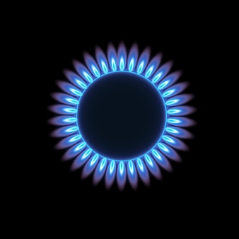 Gas burners, blue flame, top view isolated on a transparent background. stove with burning gas.