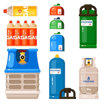 Gas container icon set  on white backdrop