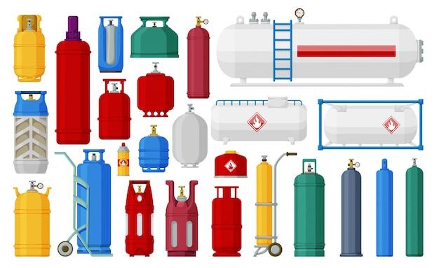 ガスシリンダー漫画は、アイコンを設定します。白い背景の上の図のipgコンテナー。孤立した漫画は、ガスシリンダーのアイコンを設定します。