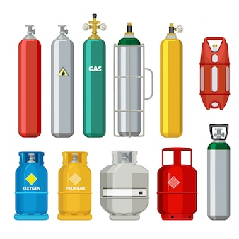 Gas cylinders icons, petroleum safety fuel metal tank of helium butane acetylene cartoon objects isolated