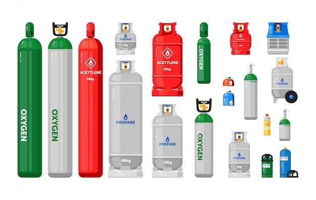 가스 실린더. 산업용 액화 압축 산소, 석유, lpg 프로판 가스 용기 및 병 세트가있는 금속 탱크. 고압 및 밸브가있는 가스 실린더