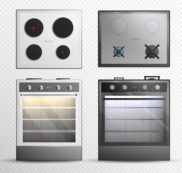 Gas electric cook top stove icon set