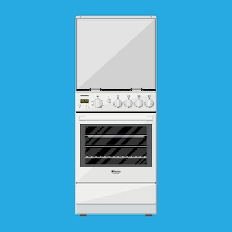 Gas or electric cooker in flat style