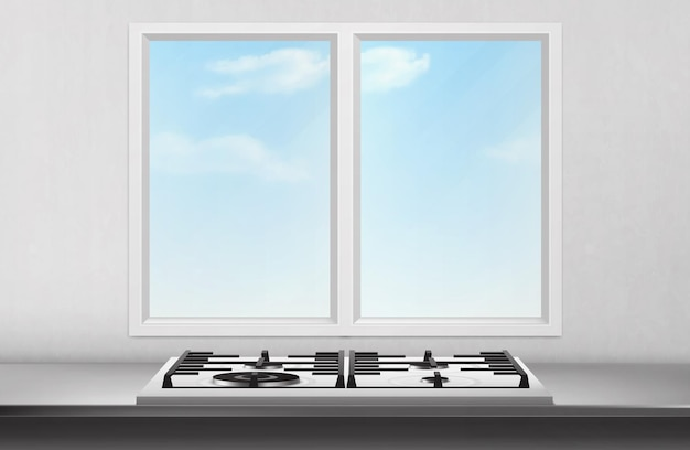 Gas and electric stove on table surface front of kitchen window and blue sky view on white wall.