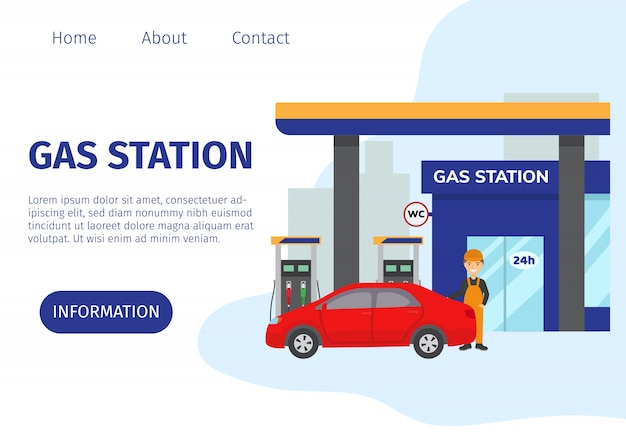 Gas filling station vector web site template. transport fuel and benzine related service building, red car and cartoon worker illustration. gasoline, petrol and gas station with shop.