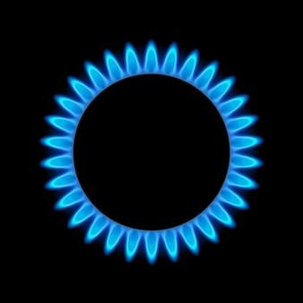 Газовое пламя синей энергии. газовая плита горелка для приготовления пищи. огонь нагревает бутан или пропан естественной силы.