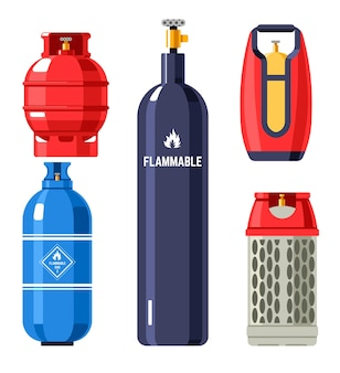 Gas and fuel in cylinders and containers, isolated balloons and tanks for filling station