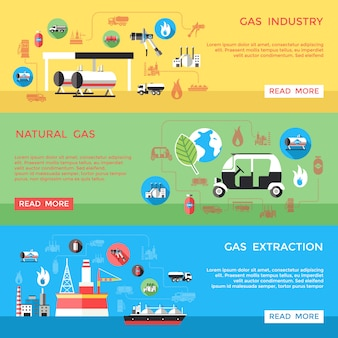 Gas industry horizontal banners set
