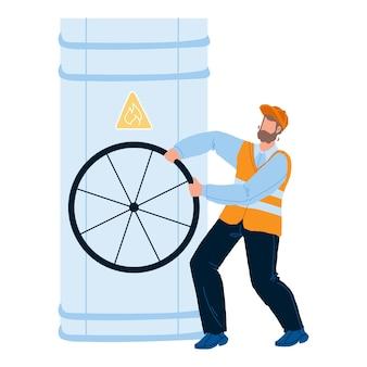 가스 산업 작업자 선회 파이프 밸브 벡터입니다. 파이프라인으로 작업하는 가스 산업 공장 직원 수리공. 캐릭터 엔지니어 전문 직업 플랫 만화 일러스트 레이션