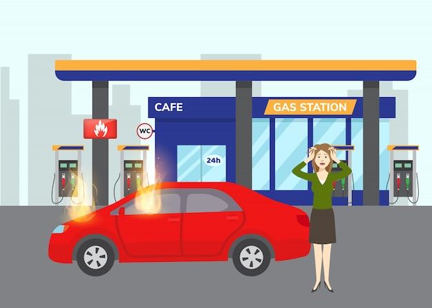 Gas inflaming car on gas filling station with fuel symbol and scared girl flat vector illustration. flames on car refilling fuel or benzine. inflamed red auto.