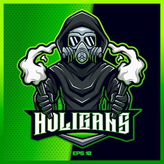 Gas mask doctor plague esport and sport mascot logo design in modern illustration concept for team badge, emblem and thirst printing. plague illustration on light green background. illustration