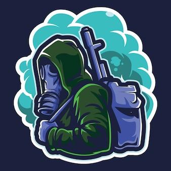 Иллюстрация логотипа киберспорта противогаза