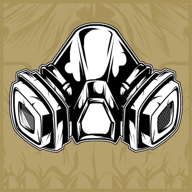 Gas mask hand drawing vector