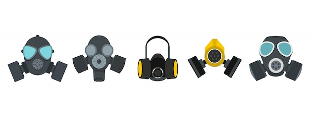 Gas mask icon set. flat set of gas mask vector icons collection isolated