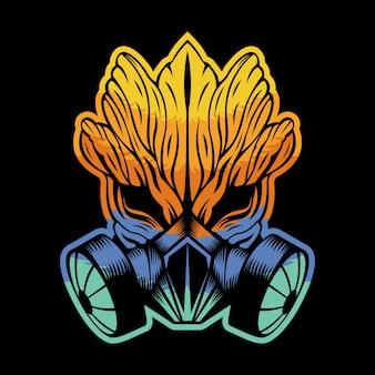 Gas mask monster wood colorful illustration