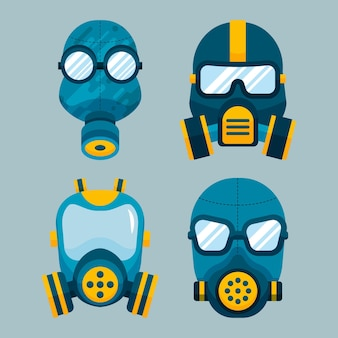 Gas mask respiratory set