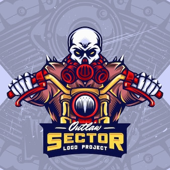 Gas mask skull bikers esport logo design