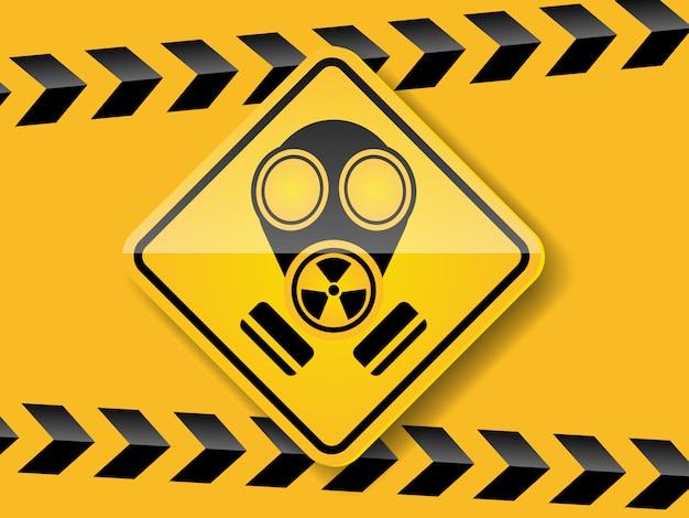 노란색 배경에 가스 마스크 경고