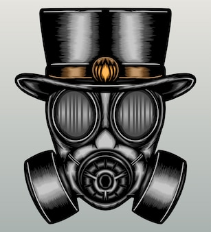 Gas mask with hat in hand drawn