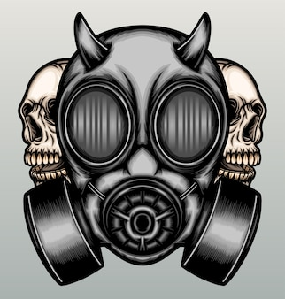 Gas mask with skull.