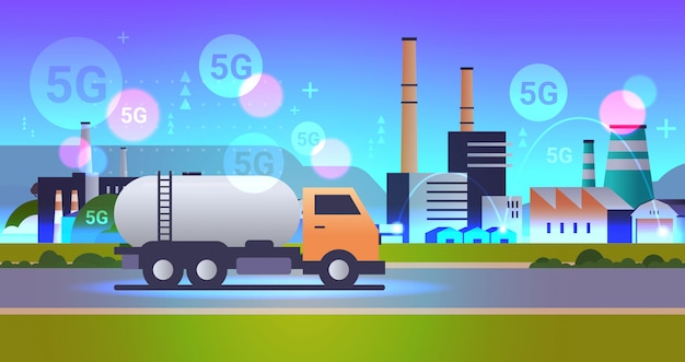 Gas or oil tanker truck driving road 5g online wireless system connection dirty waste polluted environment production technology concept industrial zone background horizontal flat