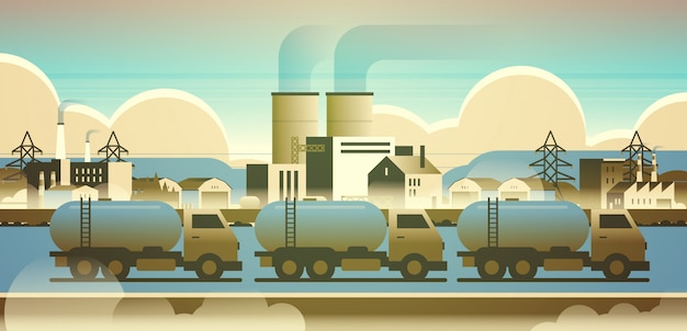 Gas or oil tanker trucks over factory building industrial zone with pipes chimneys