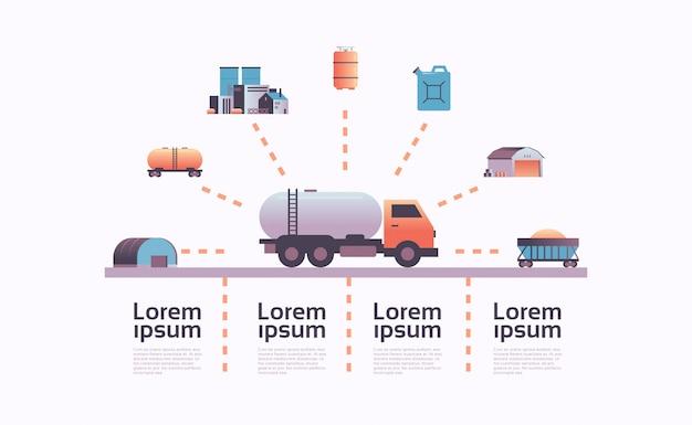 Газ или нефть автоцистерна значок инфографики шаблон извлечения