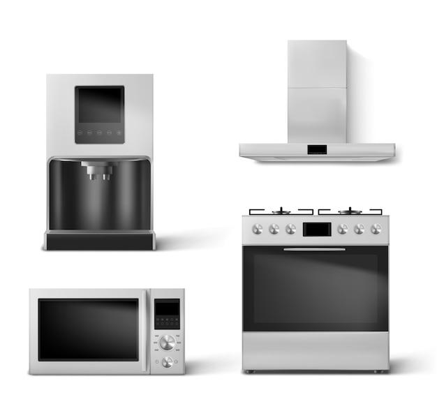 Газовая плита, вытяжка, микроволновая печь и кофеварка.