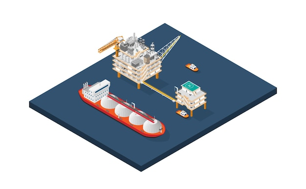 The gas platform offshore platform or offshore drilling rig with isometric style