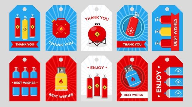 가스 생산 회사 태그 세트. 인화성 기호 벡터 일러스트와 함께 실린더, 탱크 및 용기 감사 또는 최고의 소원 텍스트. 인사말 카드 또는 엽서 용 템플릿