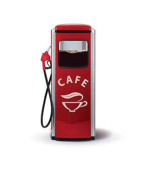 白で隔離されるコーヒーディスペンサーが付いているガスポンプ