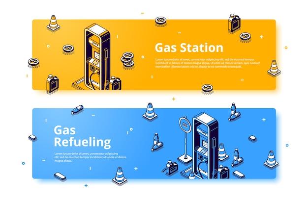 Газозаправочная станция изометрический веб-баннер, услуга заправки бензином, заправка автомобилей бензином, дизелем или маслом с помощью пистолета, шланга, дорожных конусов и канистры. 3d вектор линии искусства баннер
