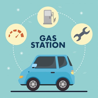 Gas station and blue car with icon set vector design