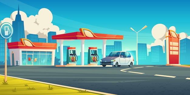Gas station, cars refueling city service, petrol shop with building
