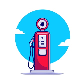 Gas station cartoon icon illustration.