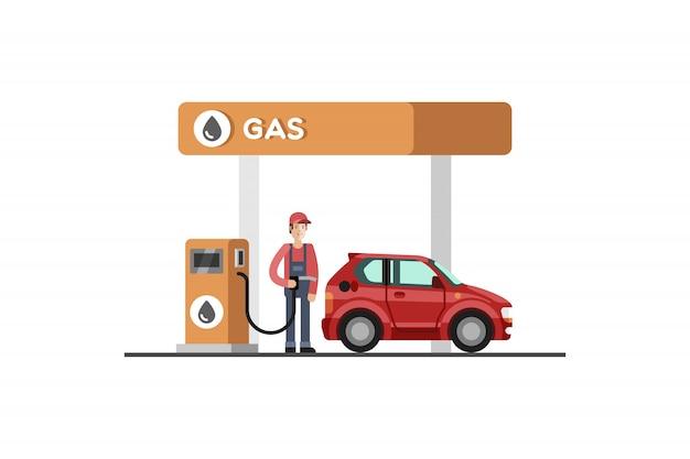 ガソリンスタンド。エネルギー。ガソリンスタンド。図。