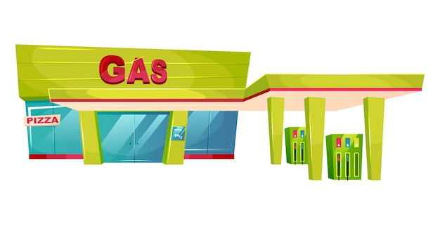 Азс внешний мультфильм иллюстрации. плоский цветной объект перед магазином для заправки бензина. масляный и бензонасос для транспорта. фасад здания автомобильного топлива, изолированные на белом фоне