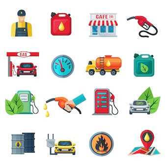 Gas station flat color icons set of canister tanker gun cafe employee column with pump isolated vector illustration