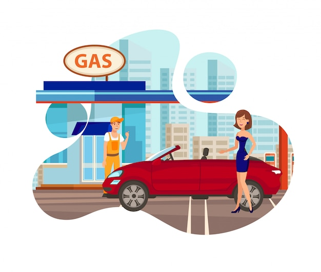 Gas station flat isolated vector illustration