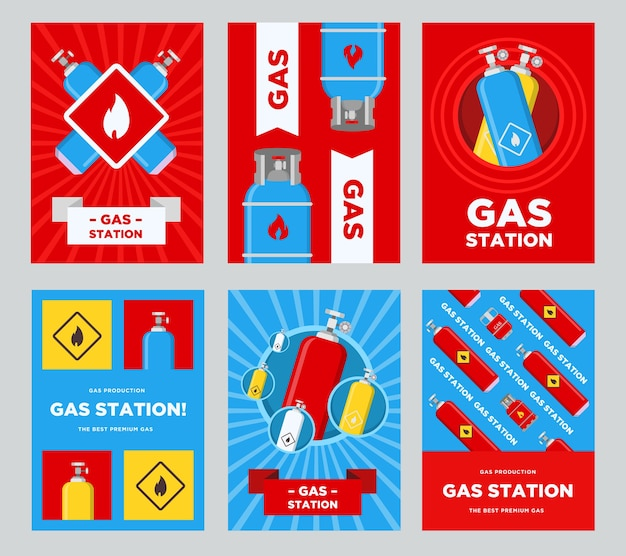Gas station flyers set. cylinders and balloons with flammable sign vector illustrations with advertising text. templates for gas station posters or banners